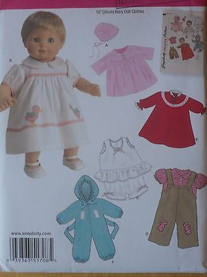 """Simplicity Craft Sewing Pattern--15"""" BABY DOLL CLOTHES-Coat-Dress-Overalls-UNCUT"""