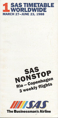 SAS Scandinavian Airlines System timetable 3/27/88