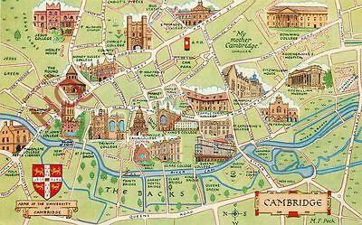 Picture Postcard- Cambridge, Map [Salmon]