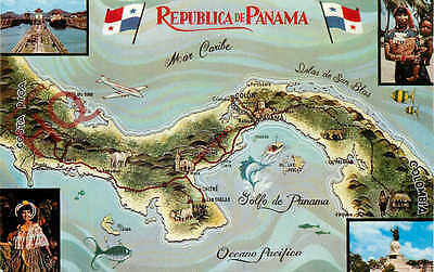 Picture Postcard- Panama, Map