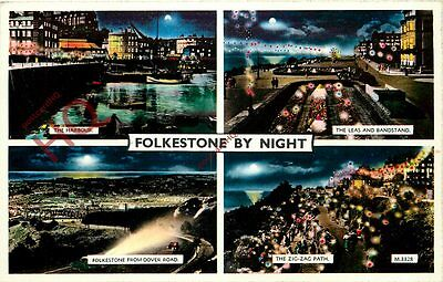 Picture Postcard; Folkestone, By Night (Multiview) [Valentine's]