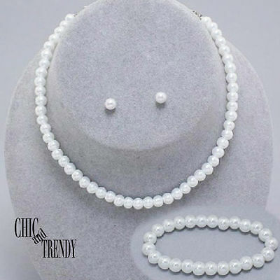 Childrens Flower Girl Pretty Wedding White Pearl Necklace Jewelry Set Chic Trend