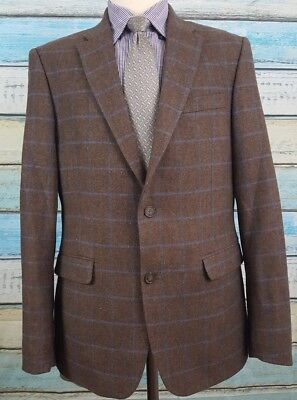 Tommy Hilfiger 40R Wool Blend 2 Button Windowpane Brown And Blue Sport Coat