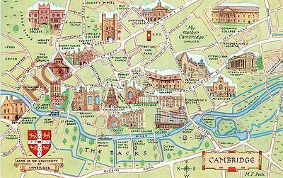 Picture Postcard-:Cambridge, Map [Salmon]