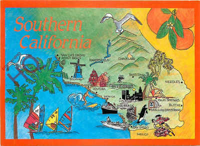 Picture Postcard~ Southern California Map