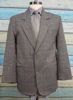 Yves Saint Laurent 40R Wool 2 Button Grey With Multi Colored Stripes Mens Blazer