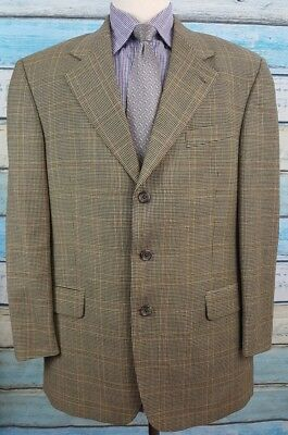Savile Row  44R Wool Beige Houndstooth And Windowpane 3 Button  Blazer