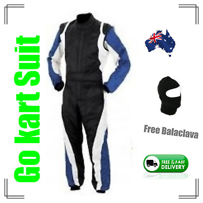 Go Kart Race Suit with free balaclava-(Fast postage, local stock) - black n blue