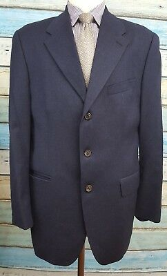 Chaps Ralph Lauren 42T Wool 3 Button Single Breasted Dark Blue Mens Blazer