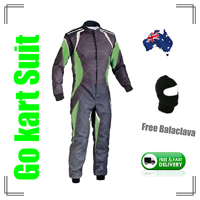 Go Kart Race Suit with free balaclava-(Fast postage, local stock) -black n green