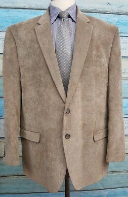 Chaps 50R Polyester Blend 2 Button Single Breasted Beige Corduroy Mens Blazer
