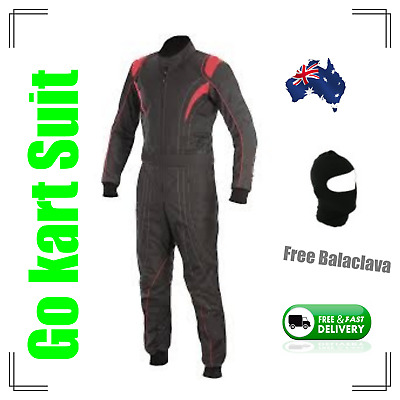Go Kart Race Suit with free balaclava -(Fast postage, local stock) - black n red