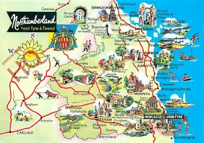 Picture Postcard::Northumberland, Map [Dennis]