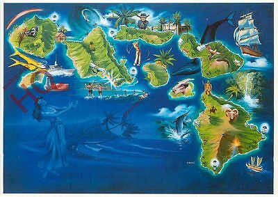 Picture Postcard:;Hawaii, Map