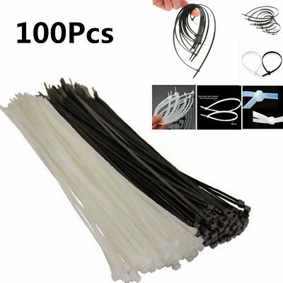 100pcs Nylon Strong Natural Cable Cord Zip Ties Heavy Duty Fasten Wrap Wire UK