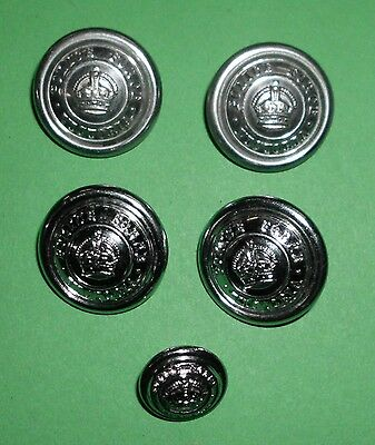 Five Obsolete Victoria Police Buttons (King Crown)