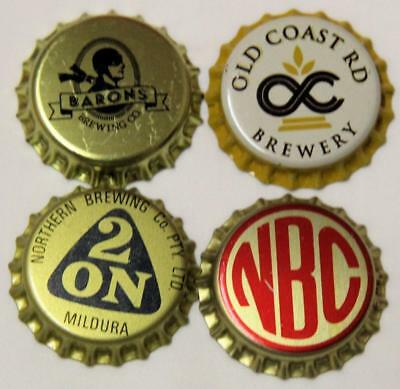 Collectible Group Of 4 Uncrimped Australian Bottle Caps/tops Group 22 - New