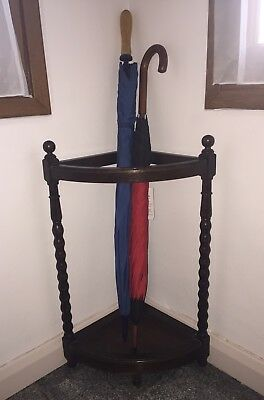 GENUINE OAK 1930/40's BARLEY TWIST CORNER UMBRELLA STAND - umbrellas not inc