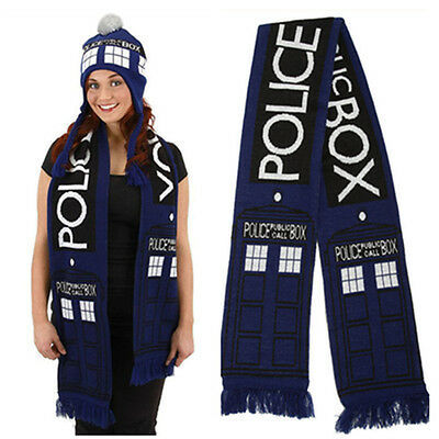 Dr Doctor Who Tardis 8 Police Public Call Box Cosplay Blue Scarf Neckchief Wrap