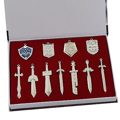 The Legend of Zelda Link Necklace keychain Pendant 11pcs Set Collection Gift Box