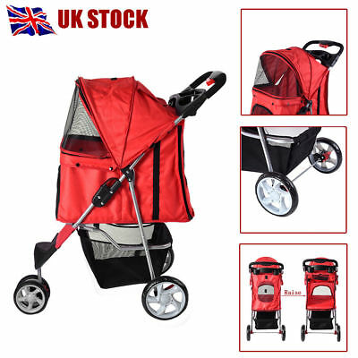 Red Dog Pet Puppy Cat Travel Stroller 3 Wheel Pushchair Jogger Buggy Swivel UK