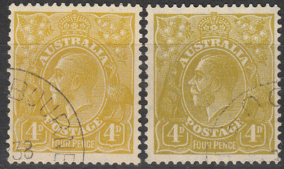 Nice set Australia King George V 4d olive CofA wmk KGV CTO issues