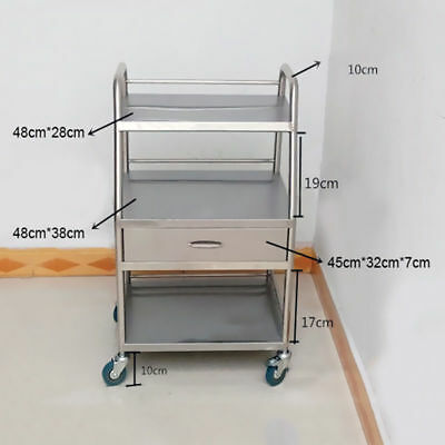 1 Set Hospital Medical Dental Cart Trolley 3 Layers Drawer With One Drawer UDD