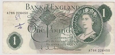 1961 £1 One Pound The Bank Of England L Q Hollom Note  Circulated 450