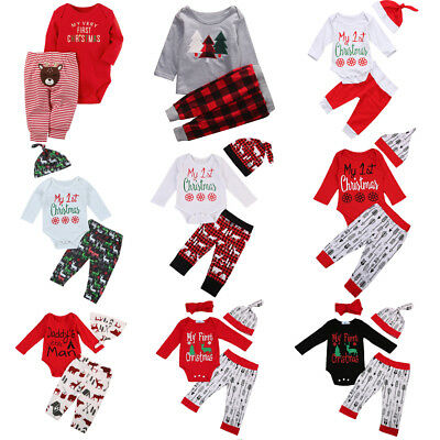 Christmas Newborn Baby Boy Girls Infant Outfits Clothes Tops Pants Leggings Set