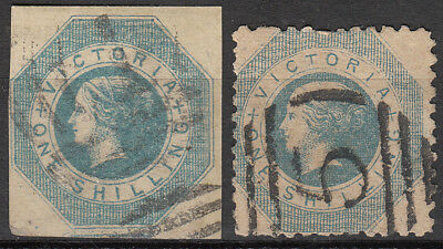Nice set Australian States Victoria 1/- blue imperf. And perf. used