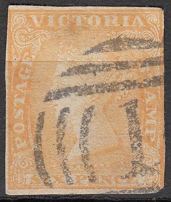 Nice Australian States Victoria Six pence 6d orange imperf. Woodblock used