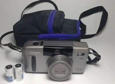 Vintage Canon Sure Shot Z135 Caption Zoom 35mm Film Camera With Case and Manual