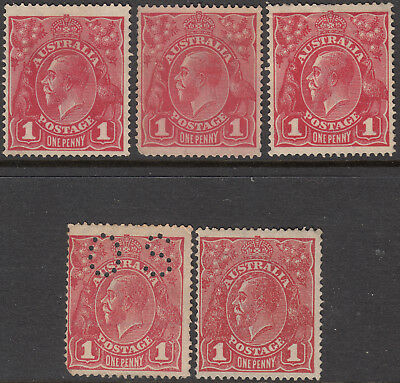 Nice lot of 5 Australia KGV 1d red mint King Gerog V 1 penny red heads