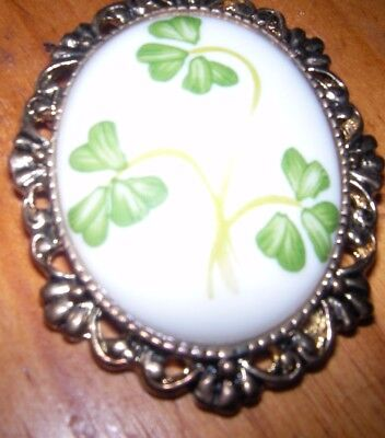 Rare vintage porcelain china  Donegal Belleek 3 shamrock brooch