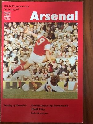 Arsenal V Hull City Football Programme 1977-1978. Arsenal Football Program