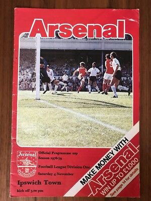 Arsenal V Ipswich Town Football Programme 1978-1979. Arsenal Football Program