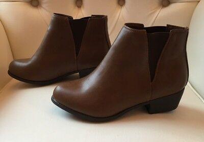 New Look Ladies Wide Fit Brown Ankle Boots Size 5 Eur 38 New