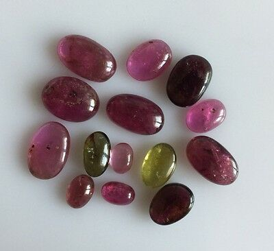 27.17Ct Natural Tourmaline Multi Color Oval Loose Gem Lot Cabochon Mix Free Size