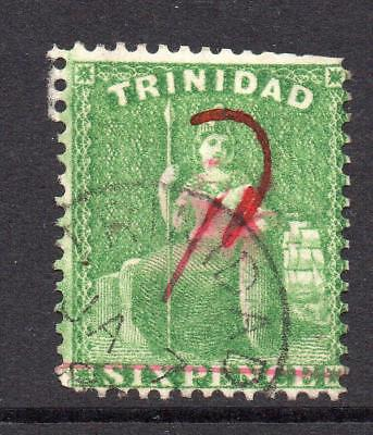 Trinidad 1d on 6d Stamp c1882  Used (s132)