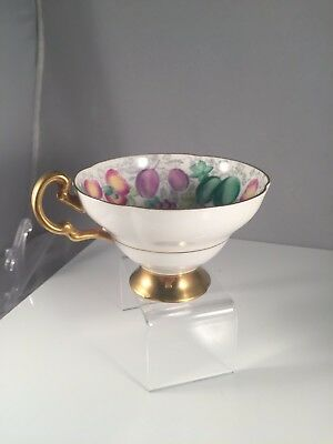 Vintage Old Royal Fine Bone China Tea Cup And Saucer With Fruits And Veggies