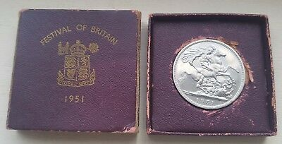 1951 Festival Of Britain Crown Coin In Box.