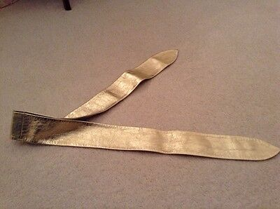 Vintage Gold Leather Belt By St Michael