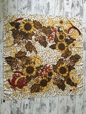 "Vintage Chanel Paris Scarf  Sunflower. 34"" X34"" Pure Silk"