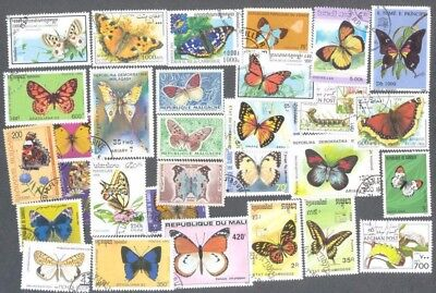 Butterflies & Moths 100 all different  stamp collection