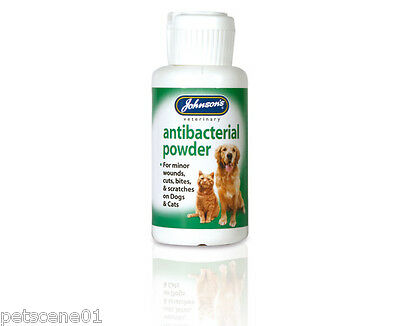 Johnsons Antibacterial Powder Dogs Cat for minor wounds cuts bite scratches a046