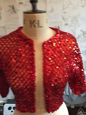 Red Sequin Christmas Handmade Vintage Cardigan Size 8-12