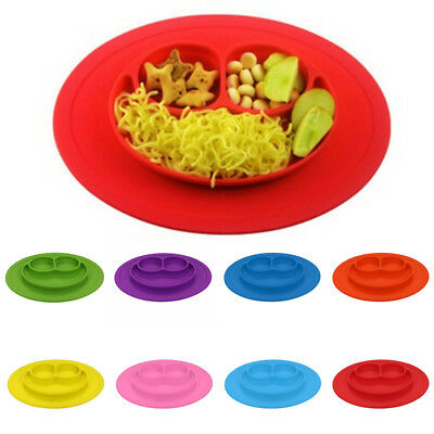 Cute Baby Toddler Kids Silicone Plate Feeding Food Tray Table Dish  1 Piece