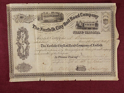 Antique 1870 The Norfolk City Railroad Company Stock Certificate Virginia