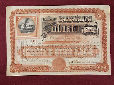 Antique 1890 The Lackawanna and Southwestern Railroad Company Stock Certificate