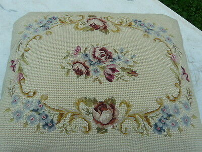 Beautiful Antique tapestry Needlepoint Floral Foot Stool French Quality Art